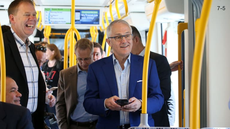Prime Minister Malcolm Turnbull riding the Gold Coast light rail.