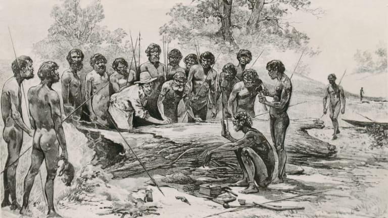 A non-contemporary engraving of John Batman meeting Aborigines on the banks of the Merri Creek.