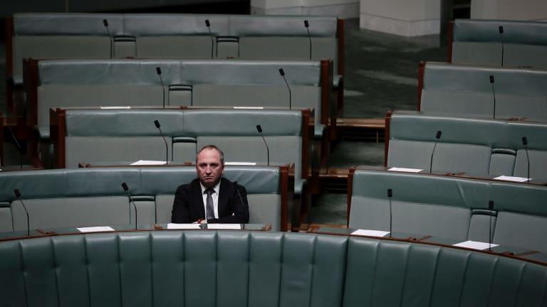 Former deputy prime minister Barnaby Joyce sits on the backbench.