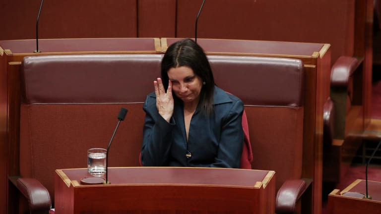 Senator Jacqui Lambie after she informed the Senate she intends to resign because of dual citizenship by descent at Parliament House in Canberra on Tuesday 14 November 2017.