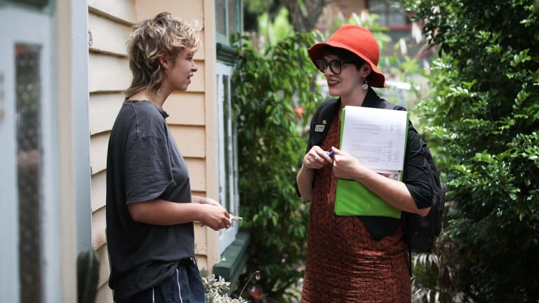 Greens candidate for South Brisbane, Amy MacMahon (right), doorknocked in the electorate of South Brisbane. during the election campaign