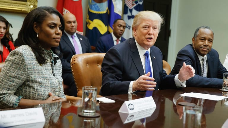 Former White House staffer Omarosa Manigault, left, was pushed out months ago and now says she wouldn't vote for Trump again.