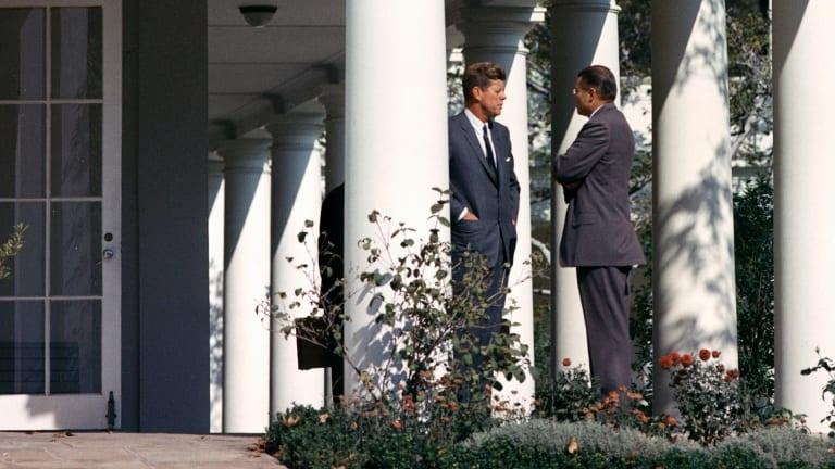 US president John F. Kennedy confers with his secretary of defence Robert S. McNamara on October 29, 1962.