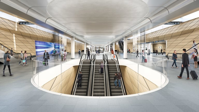 Escalators will connect platforms at Central for the new metro train line.