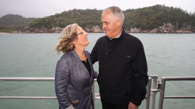 Prime Minister Malcolm Turnbull and Lucy Turnbull during the 2016 election campaign.