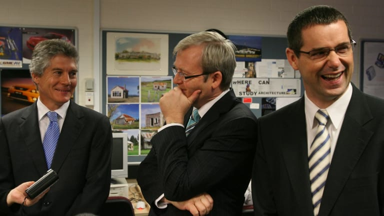 Kevin Rudd with Stephen Smith and Stephen Conroy.