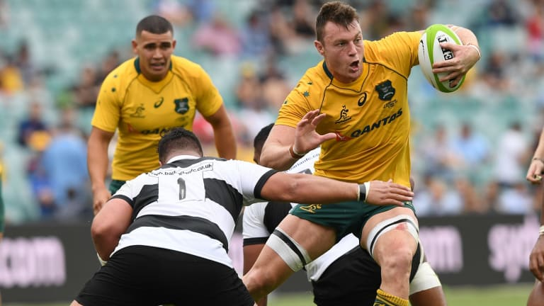 Jack Dempsey in his last Wallabies match before tearing his hamstring off the bone