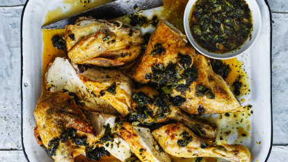 Neil Perry's butterflied chicken with soy and honey dressing