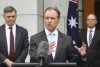 Health Department secretary Professor Brendan Murphy (left), Health Minister Greg Hunt and Chief Medical Officer Professor Paul Kelly  during a press conference last week on the COVID-19 vaccine rollout.