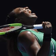 Serena Williams reacts after losing a point to Karolina Pliskova.