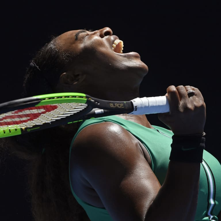 Serena Williams reacts after losing a point to Karolina Pliskova.