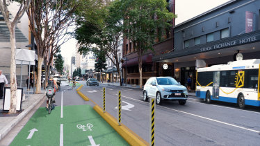 Some parking and loading zones will be removed and bus stops relocated for new separated bike lanes through Brisbane's CBD.