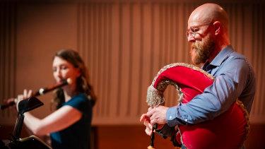 Simon Rickard on musette with flautist Melissa Farrow.