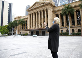 Brisbane's King George Square was almost entirely empty on Saturday.