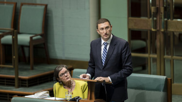 Liberal MP Julian Leeser talking about Indigenous constitutional recognition on Thursday.