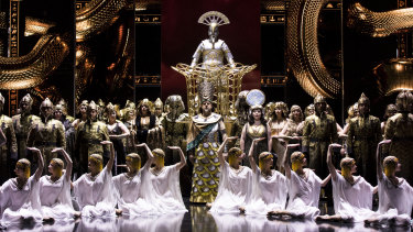 Opera Australia's new production of Aida uses a digital set at the Sydney Opera House.