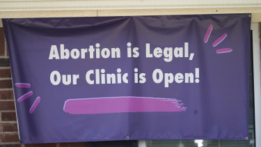 A signs hangs outside the Whole Women's Health Clinic in Fort Worth, Texas.