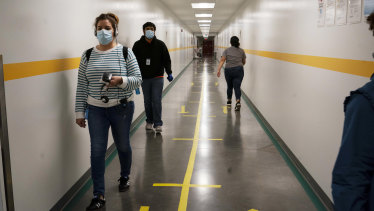 Lanes in a corridor help employees maintain social distance