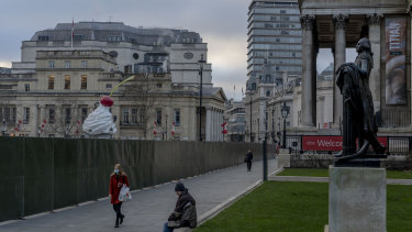 Trafalgar Square in London. With the pandemic lockdowns set to drag on, mental health professionals are growing increasingly alarmed about the deteriorating mental state of young people.