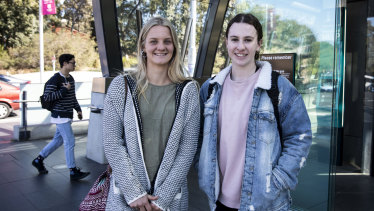 Macquarie University students Rachel Dobbie, left, and Ellie Ryrie use the metro trains regularly.