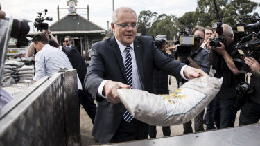 Prime Minister Scott Morrison during a visit to Daisy's Garden Supplies in Ringwood, Melbourne, on Monday.