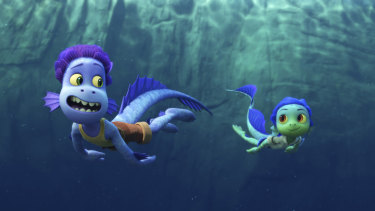 Sea monsters Alberto (left,  voiced by Jack Dylan Grazer) and Luca (Jacob Tremblay) have to hide their true selves from nearby villagers in Pixar's Luca.
