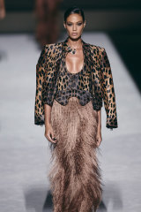Joan Smalls walks in the Tom Ford show at New York Fashion Week in September.
