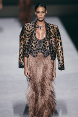 Model Joan Smalls in the Tom Ford SS19 show that opened New York Fashion Week.