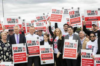 Brimbank mayor Ranka Rasic, councillors from across Melbourne and residents join together at the Calder Freeway to launch the campaign last Saturday.