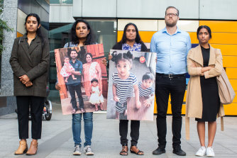 Supporters of the family outside the Federal Court in Melbourne on September 4.