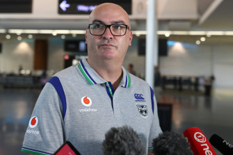 Warriors chief executive Cameron George speaks after arriving back in Auckland.