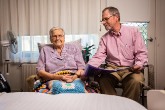 Andreas Makarewitsch, 66, and his mother Anita, 94, at her aged care facility in Geelong North.