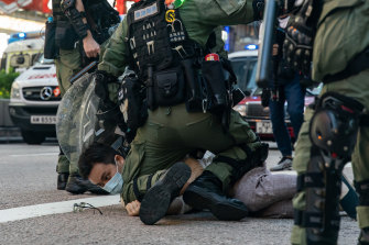 A man is arrested during an anti-government protest on September 6, 2020 in Hong Kong. Nearly 300 people were arrested during the protest against the government's  newly imposed national security law.