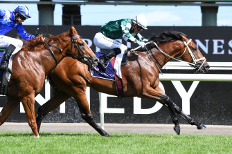 Tagaloa and jockey Luke Currie win the CS Hayes Stakes. They will team up again in the Australian Guineas at Flemington on Saturday.