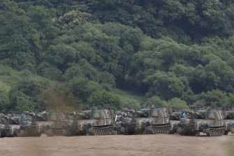 The South Korean army's K-55 self-propelled howitzers at the border on Tuesday.