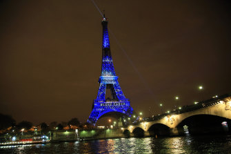 An artwork entitled 'One Heart One Tree' by artist Naziha Mestaoui displayed on the Eiffel tower ahead of the 2015 Paris Climate Conference.