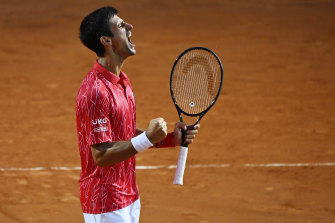 Novak Djokovic celebrates his win.