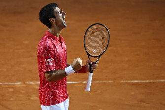 Novak Djokovic celebrates his win.
