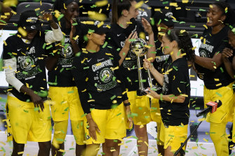 Australia's Ezi Magbegor (second from left) with her WNBA title-winning Seattle Storm teammates.