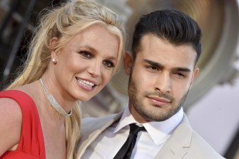 Britney Spears with Sam Asghari in 2019.