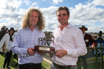 Ciaron Maher, left, and David Eustace have been charged with presenting one of their horses to the races with a diuretic in its system.