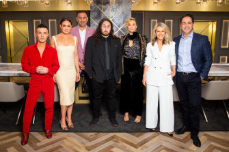 The contestants on The Celebrity Apprentice Australia, hosted by Lord Alan Sugar, include: singer Anthony Callea; personal trainer Michelle Bridges; comedian Rob Shehadie; comedian Ross Noble; fashion designer Camilla Franks; radio host Michael 'Wippa' Wipfli (with adviser Lorna Jane Clarkson, founder of Lorna Jane activewear, second from right)