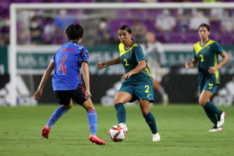 Sam Kerr on the attack in a match against Japan earlier this month.