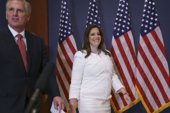 Elise Stefanik, pictured with House Minority Leader Kevin McCarthy, after her election.