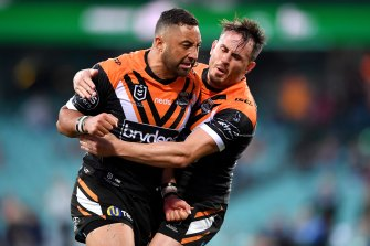 Wests Tigers co-captain Benji Marshall is standing by teammate Josh Reynolds.