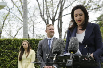 Environment Minister Meaghan Scanlon (left) at her swearing in by Premier Annastacia Palaszczuk after the 2020 election.