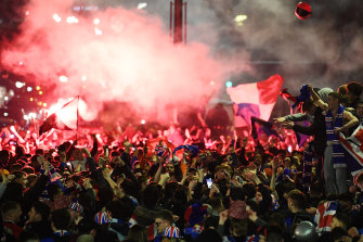 Rangers fans gathered in George Square in Glasgow to celebrate their team winning the Scottish Premiership title.