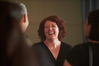 Jane Harper enjoys a lighter moment on the set of the film adaptation of her book.