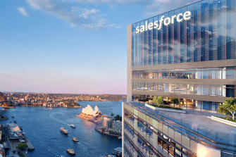 An artist's impression of the new Salesforce Tower Sydney at Circular Quay.