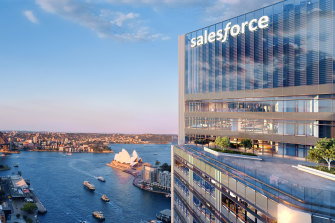 An artist's impression of the new Lendlease  Salesforce Tower Sydney at Circular Quay.